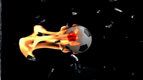 Soccer Ball on fire breaking glass with Alpha - stock footage