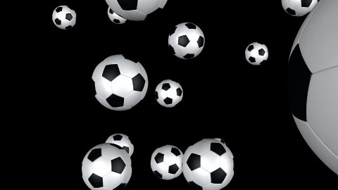 Soccer balls flying towards the screen with Alpha - stock footage