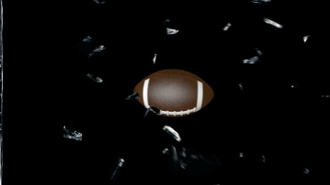 American football breaking glass with Alpha - stock footage