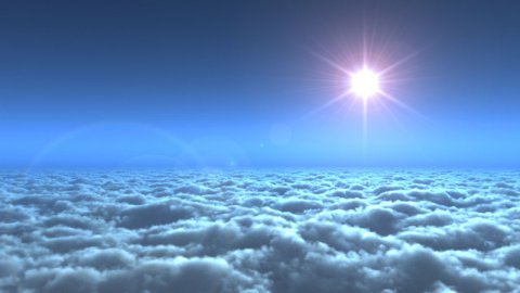 Flying above clouds,movie intro - stock footage