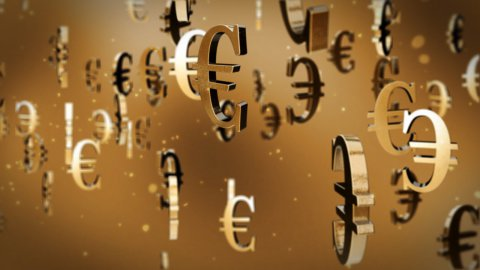 Euro currency symbol flying - stock footage