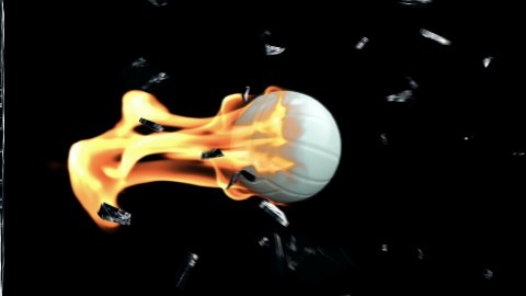 Volleyball on fire breaking glass with Alpha - stock footage