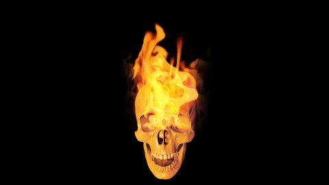 Skull on fire - stock footage