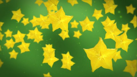 Carambola yellow star fruit - stock footage