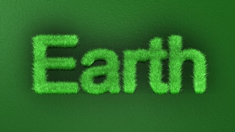 Time-lapse grass growth forming Earth text, Alpha Channel included - stock footage