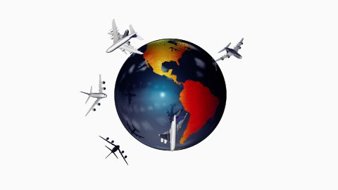 Earth and Air Traffic, white background, Alpha, loop - stock footage