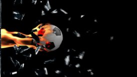 Soccer Ball on fire breaking glass - motion graphic