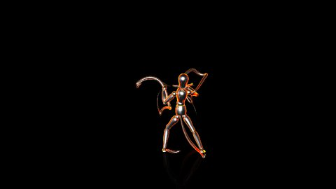 Iron Mannequin KungFu with Light strokes,Alpha Channel - stock footage