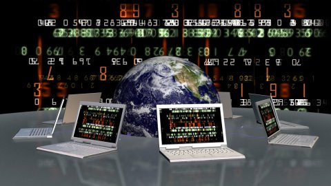 Earth and laptops with random numbers on screen - stock footage
