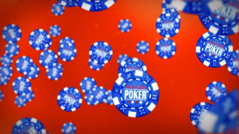 Poker chips against red - stock footage
