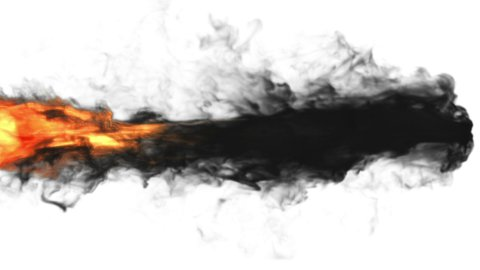 Flame torch against black and white, 2 clips, Alpha included - stock footage