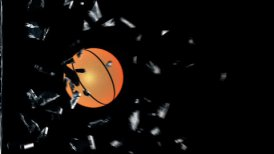 Basketbal breaking glass - motion graphic