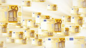 50 EURO bill flying - editable clip, motion graphic, stock footage