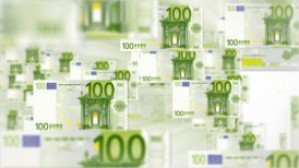 100 EURO bill flying - editable clip, motion graphic, stock footage
