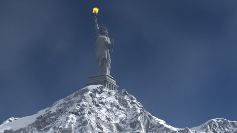 Mountain and Liberty Statue with torch - stock footage