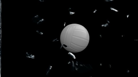 Volleyball breaking glass with Alpha - stock footage